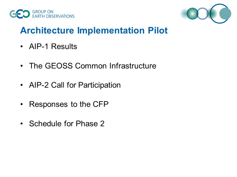 Architecture Implementation Pilot AIP-1 Results The GEOSS Common Infrastructure AIP-2 Call for Participation Responses to the CFP Schedule for Phase 2