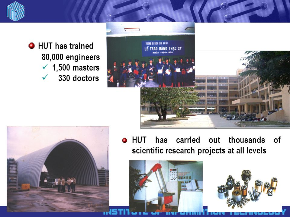 HUT has carried out thousands of scientific research projects at all levels HUT has trained 80,000 engineers 1,500 masters 330 doctors