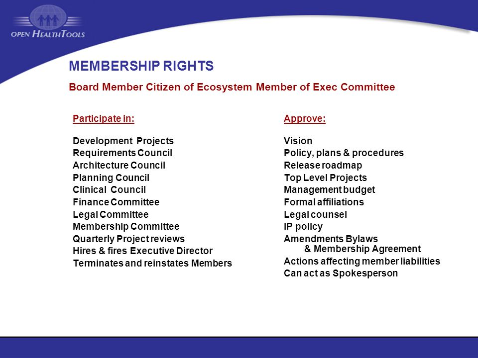 MEMBERSHIP RIGHTS Participate in: Development Projects Requirements Council Architecture Council Planning Council Clinical Council Finance Committee L