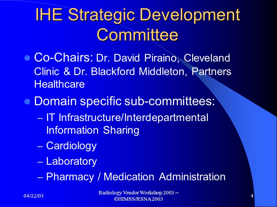 04/22/03 Radiology Vendor Workshop 2003 -- ©HIMSS/RSNA 2003 3 Shaping the Future of IHE IHE Strategic Development Committee Est.