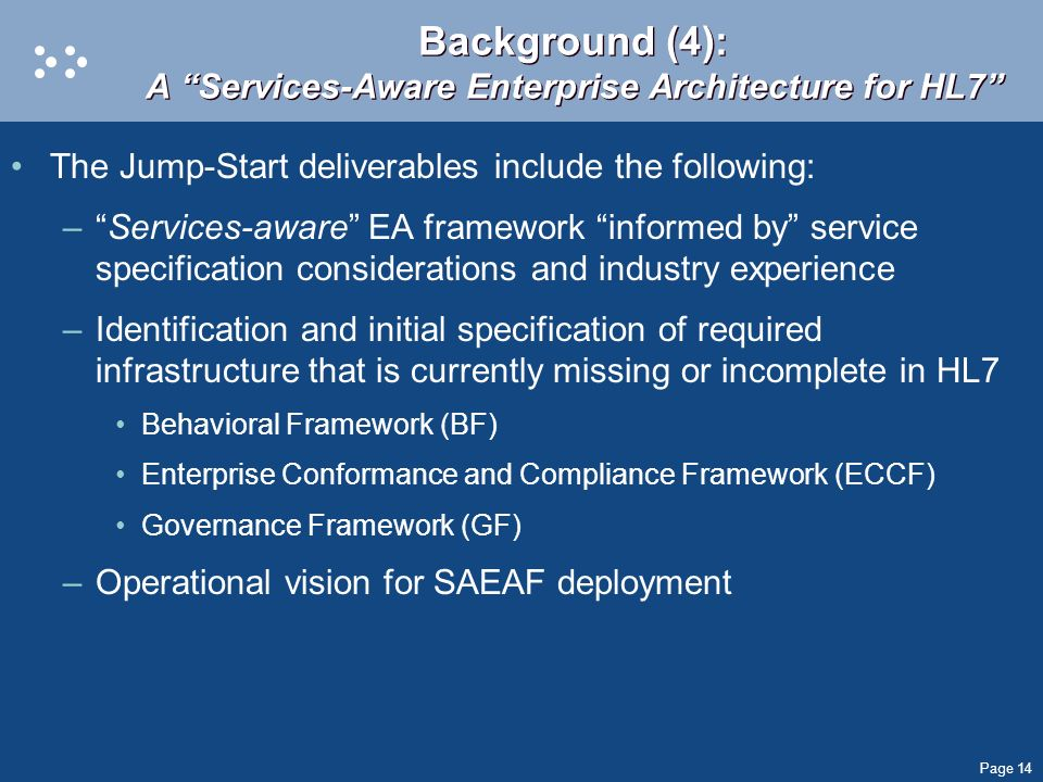 Page 14 Background (4): A Services-Aware Enterprise Architecture for HL7 The Jump-Start deliverables include the following: –Services-aware EA framewo