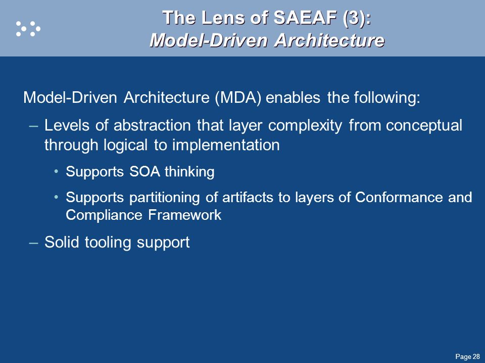 Page 28 The Lens of SAEAF (3): Model-Driven Architecture Model-Driven Architecture (MDA) enables the following: –Levels of abstraction that layer comp