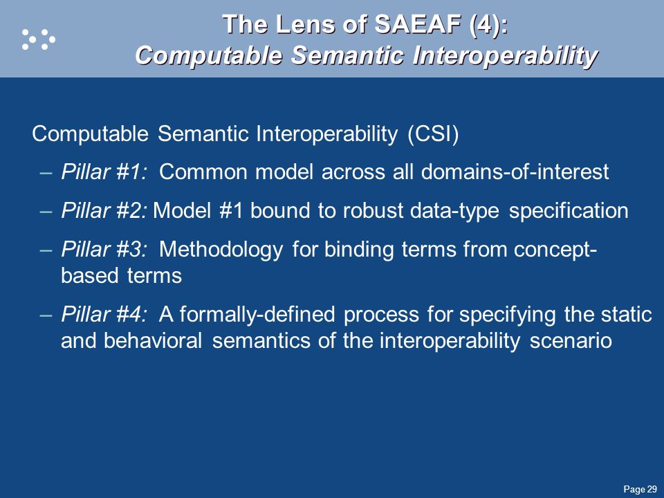 Page 29 The Lens of SAEAF (4): Computable Semantic Interoperability Computable Semantic Interoperability (CSI) –Pillar #1: Common model across all dom