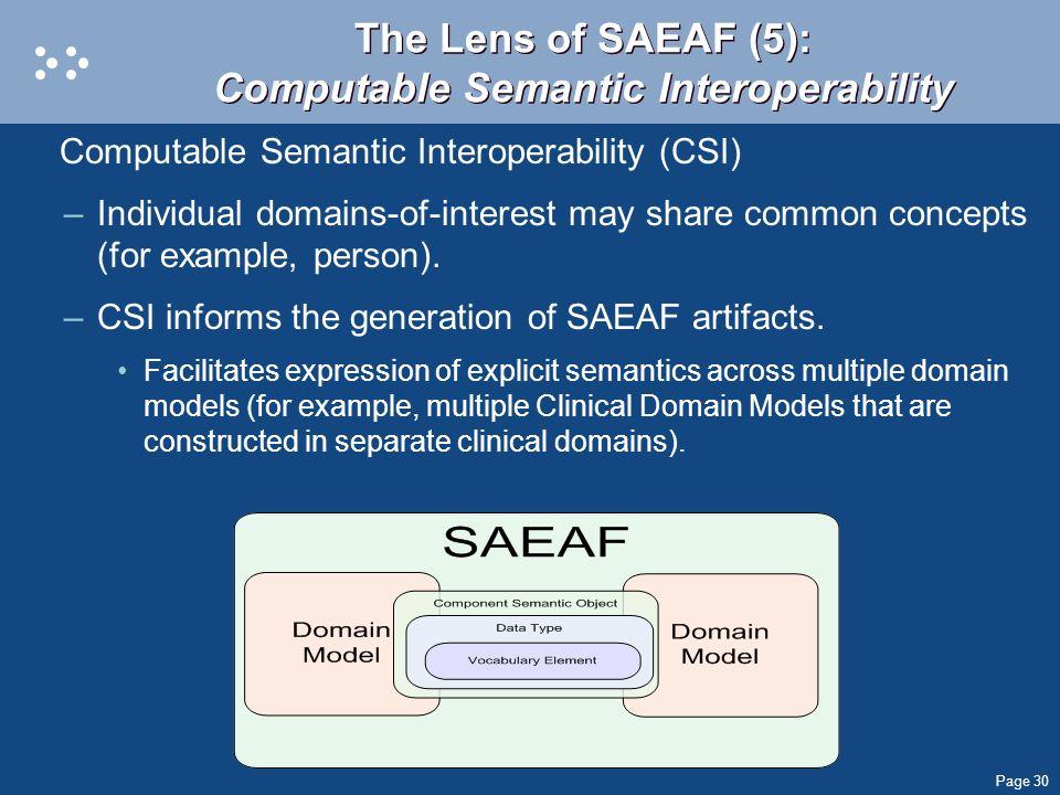 Page 30 The Lens of SAEAF (5): Computable Semantic Interoperability Computable Semantic Interoperability (CSI) –Individual domains-of-interest may sha