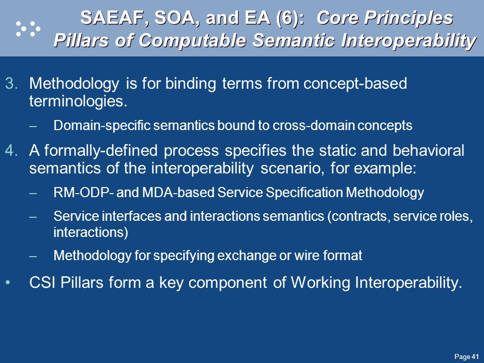 Page 41 SAEAF, SOA, and EA (6): Core Principles Pillars of Computable Semantic Interoperability 3.Methodology is for binding terms from concept-based