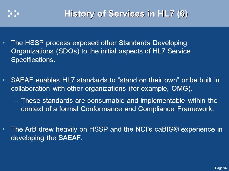 Page 54 History of Services in HL7 (6) The HSSP process exposed other Standards Developing Organizations (SDOs) to the initial aspects of HL7 Service