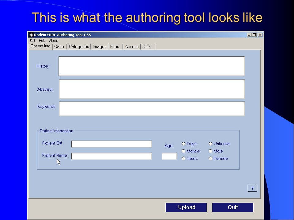 This is what the authoring tool looks like