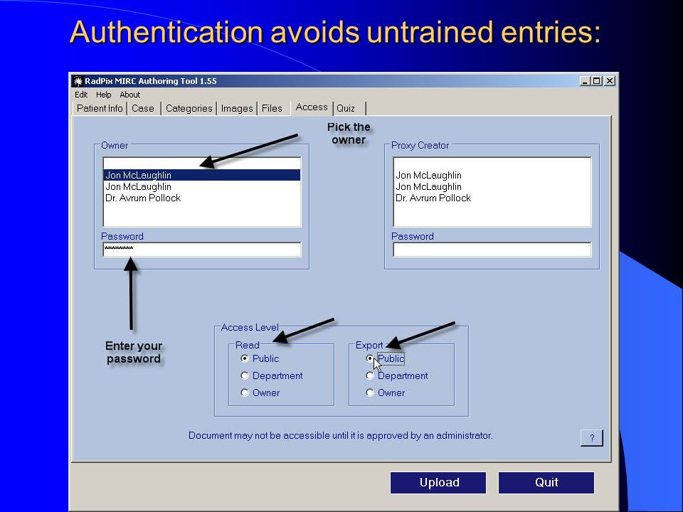 Authentication avoids untrained entries: