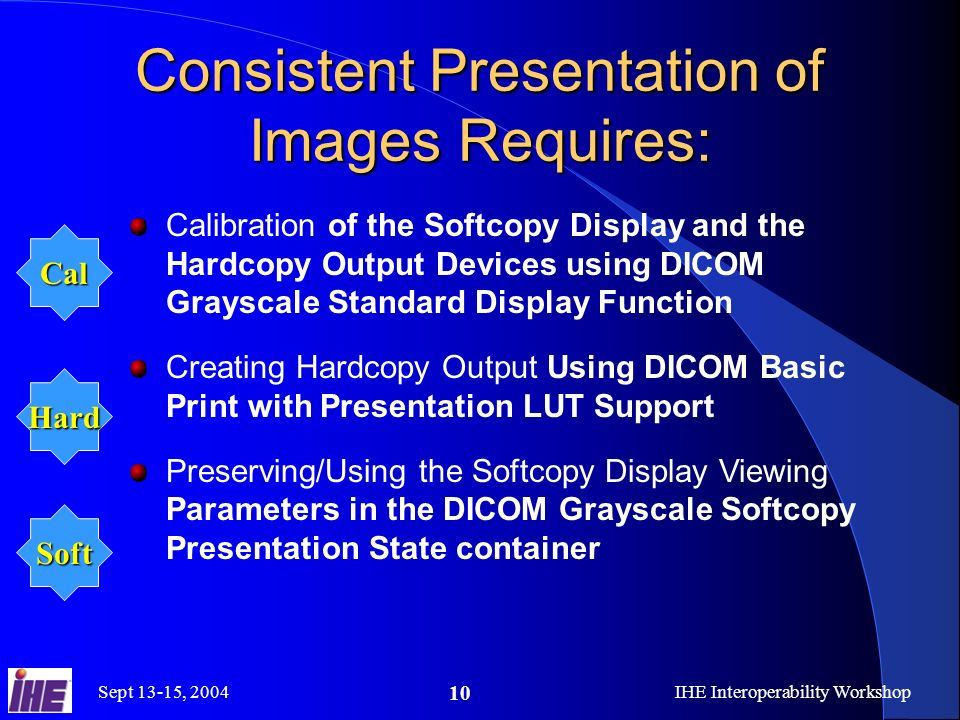 Sept 13-15, 2004IHE Interoperability Workshop 10 Consistent Presentation of Images Requires: Calibration of the Softcopy Display and the Hardcopy Output Devices using DICOM Grayscale Standard Display Function Creating Hardcopy Output Using DICOM Basic Print with Presentation LUT Support Preserving/Using the Softcopy Display Viewing Parameters in the DICOM Grayscale Softcopy Presentation State container Cal Hard Soft