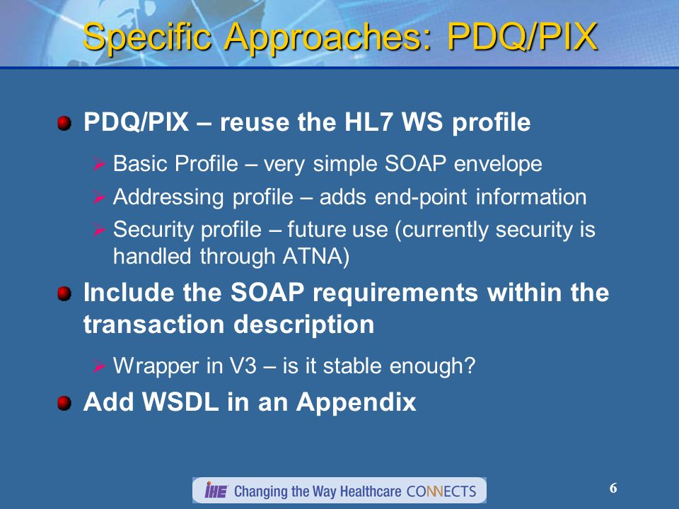 6 Specific Approaches: PDQ/PIX PDQ/PIX – reuse the HL7 WS profile Basic Profile – very simple SOAP envelope Addressing profile – adds end-point inform