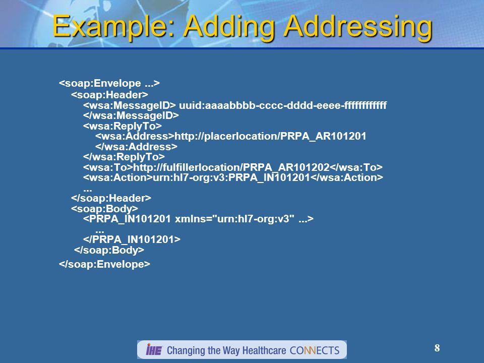 8 Example: Adding Addressing uuid:aaaabbbb-cccc-dddd-eeee-ffffffffffff http://placerlocation/PRPA_AR101201 http://fulfillerlocation/PRPA_AR101202 urn: