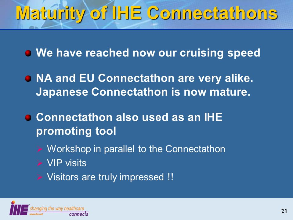 Maturity of IHE Connectathons We have reached now our cruising speed NA and EU Connectathon are very alike.