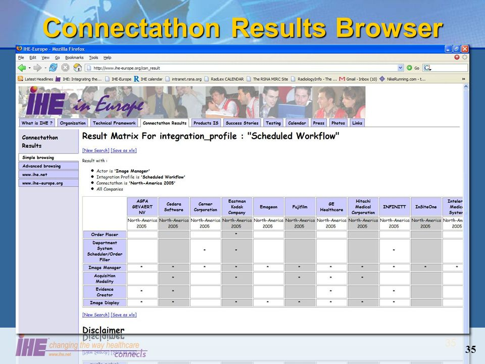 35 Connectathon Results Browser 35