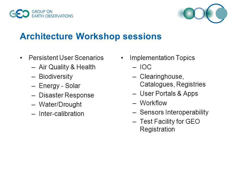 Architecture Workshop sessions Persistent User Scenarios –Air Quality & Health –Biodiversity –Energy - Solar –Disaster Response –Water/Drought –Inter-calibration Implementation Topics –IOC –Clearinghouse, Catalogues, Registries –User Portals & Apps –Workflow –Sensors Interoperability –Test Facility for GEO Registration