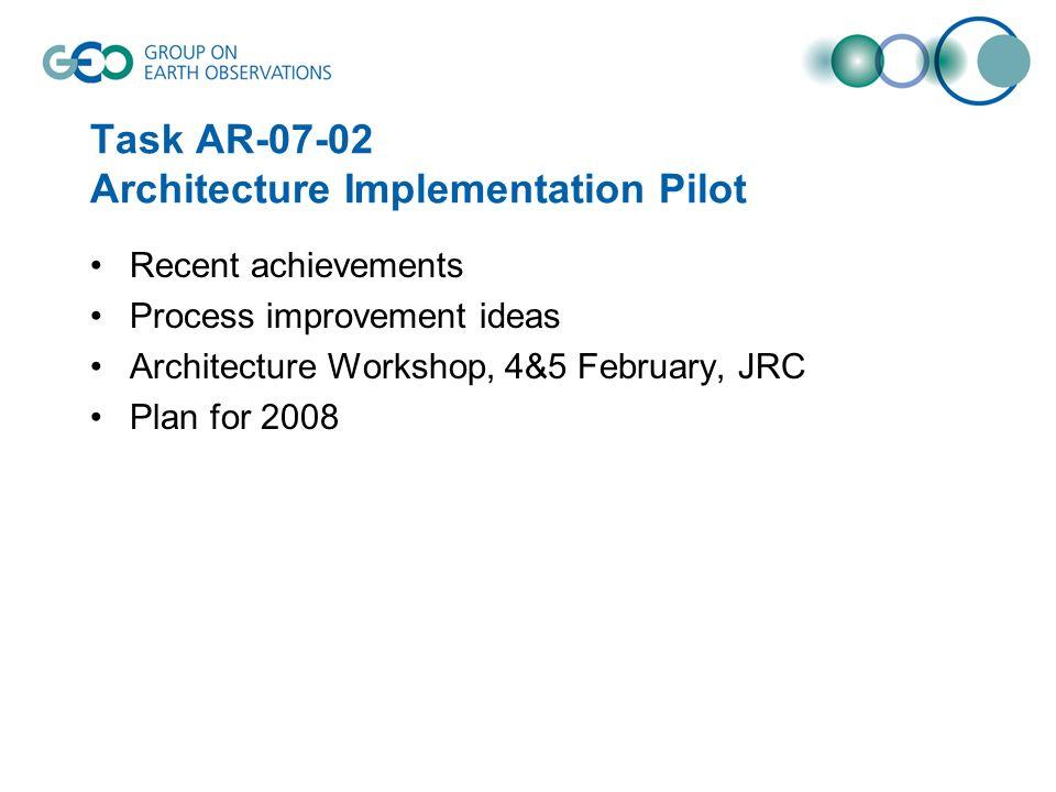 Task AR-07-02 Architecture Implementation Pilot Recent achievements Process improvement ideas Architecture Workshop, 4&5 February, JRC Plan for 2008