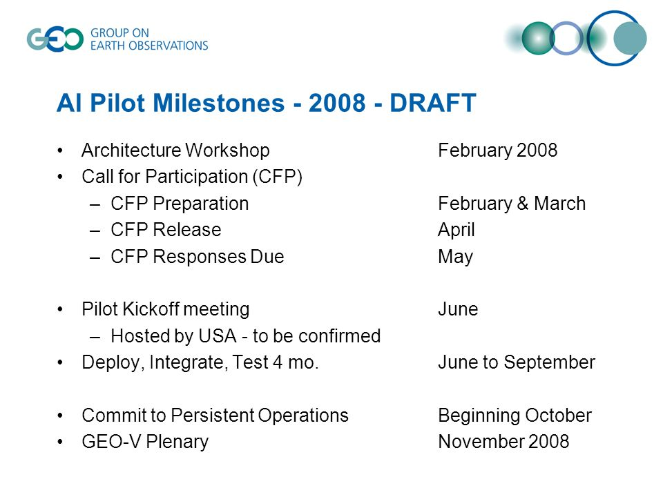 AI Pilot Milestones DRAFT Architecture WorkshopFebruary 2008 Call for Participation (CFP) –CFP Preparation February & March –CFP ReleaseApril –CFP Responses DueMay Pilot Kickoff meetingJune –Hosted by USA - to be confirmed Deploy, Integrate, Test 4 mo.June to September Commit to Persistent OperationsBeginning October GEO-V Plenary November 2008