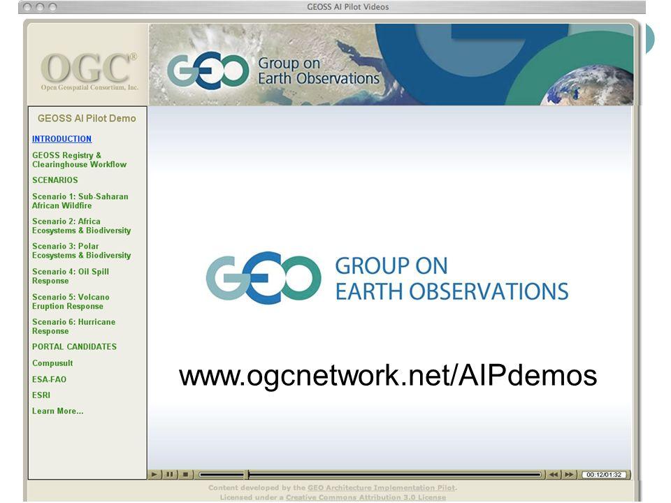 GEOSS AI Pilot Screencasts www.ogcnetwork.net/AIPdemos