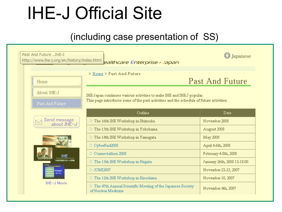 IHE-J Official Site (including case presentation of SS)