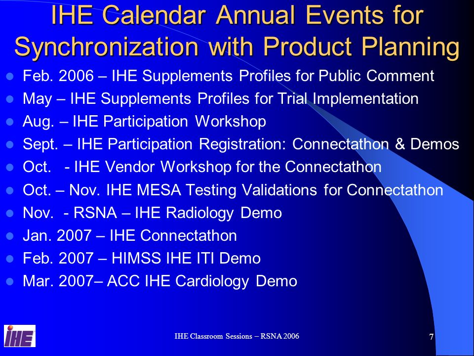 IHE Classroom Sessions – RSNA IHE Process - Annual Cycle IHE Integration Profiles B IHE Integration Profile A Easy to Integrate Products IHE Connectathon Product With IHE IHE Demonstration User Site RFP Standards IHE Technical Framework Product IHE Integration Statement IHE Connectathon Results IHE Technical Framework – Define Standard Integration Solutions IHE Connectathon Results – Most implemented and tested IHE Solutions IHE Integration Statements – Most Comertialized IHE Solutions IHE Success Story – Most Successful Used IHE Solutions IHE Users Handbook – IHE Solutions, Economical and Clinical benefits