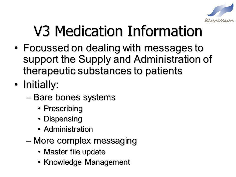 V3 Medication Information Focussed on dealing with messages to support the Supply and Administration of therapeutic substances to patientsFocussed on
