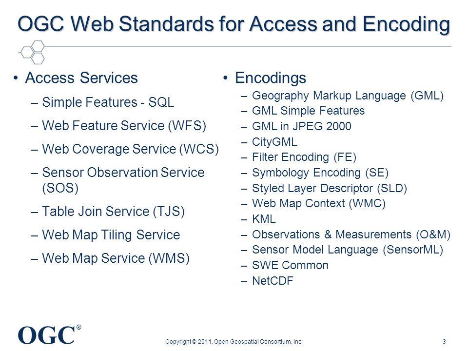 OGC ® OGC Web Standards for Access and Encoding Access Services –Simple Features - SQL –Web Feature Service (WFS) –Web Coverage Service (WCS) –Sensor