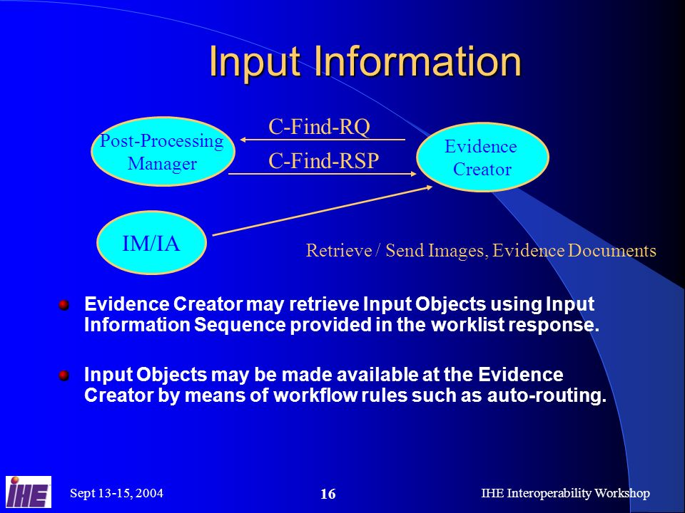 Sept 13-15, 2004IHE Interoperability Workshop 16 Input Information Evidence Creator may retrieve Input Objects using Input Information Sequence provided in the worklist response.