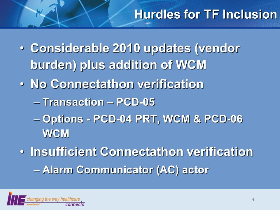 5 Progress Towards TF Inclusion Goal of ACM inclusion in PCD TF at start of Cycle 7 (2012-2013)Goal of ACM inclusion in PCD TF at start of Cycle 7 (2012-2013) Dependent upon 2012 Connectathon vendor involvement and resultsDependent upon 2012 Connectathon vendor involvement and results