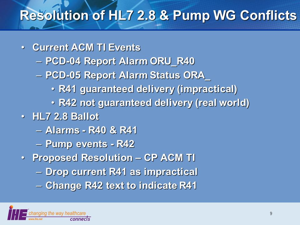 9 Resolution of HL7 2.8 & Pump WG Conflicts Current ACM TI EventsCurrent ACM TI Events –PCD-04 Report Alarm ORU_R40 –PCD-05 Report Alarm Status ORA_ R41 guaranteed delivery (impractical)R41 guaranteed delivery (impractical) R42 not guaranteed delivery (real world)R42 not guaranteed delivery (real world) HL7 2.8 BallotHL7 2.8 Ballot –Alarms - R40 & R41 –Pump events - R42 Proposed Resolution – CP ACM TIProposed Resolution – CP ACM TI –Drop current R41 as impractical –Change R42 text to indicate R41