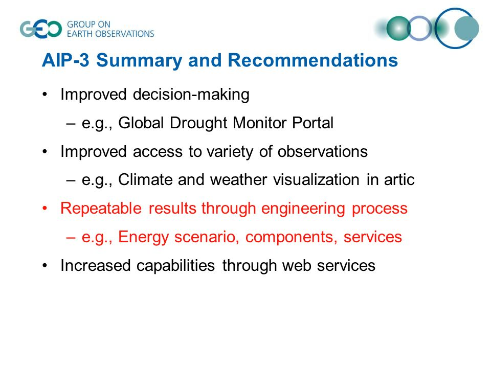 AIP-3 Summary and Recommendations Improved decision-making –e.g., Global Drought Monitor Portal Improved access to variety of observations –e.g., Climate and weather visualization in artic Repeatable results through engineering process –e.g., Energy scenario, components, services Increased capabilities through web services