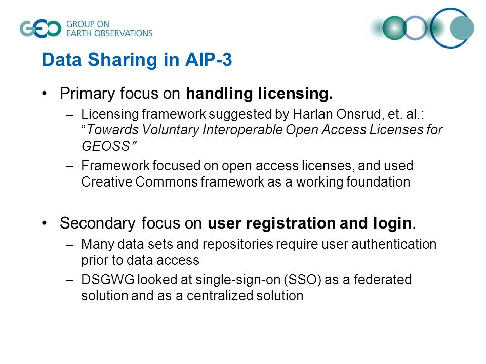 Data Sharing in AIP-3 Primary focus on handling licensing.