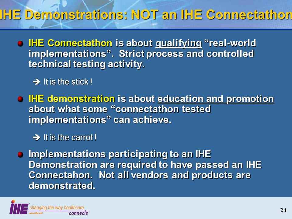 24 IHE Demonstrations: NOT an IHE Connectathon IHE Connectathon is about qualifying real-world implementations. Strict process and controlled technica