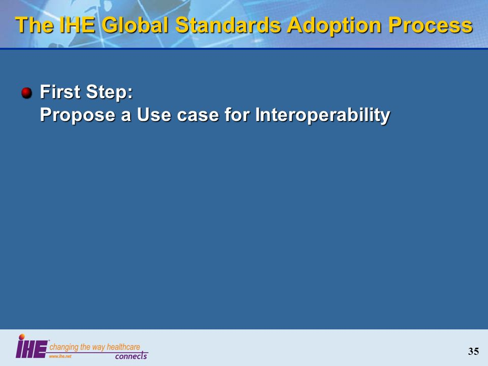 35 The IHE Global Standards Adoption Process First Step: Propose a Use case for Interoperability