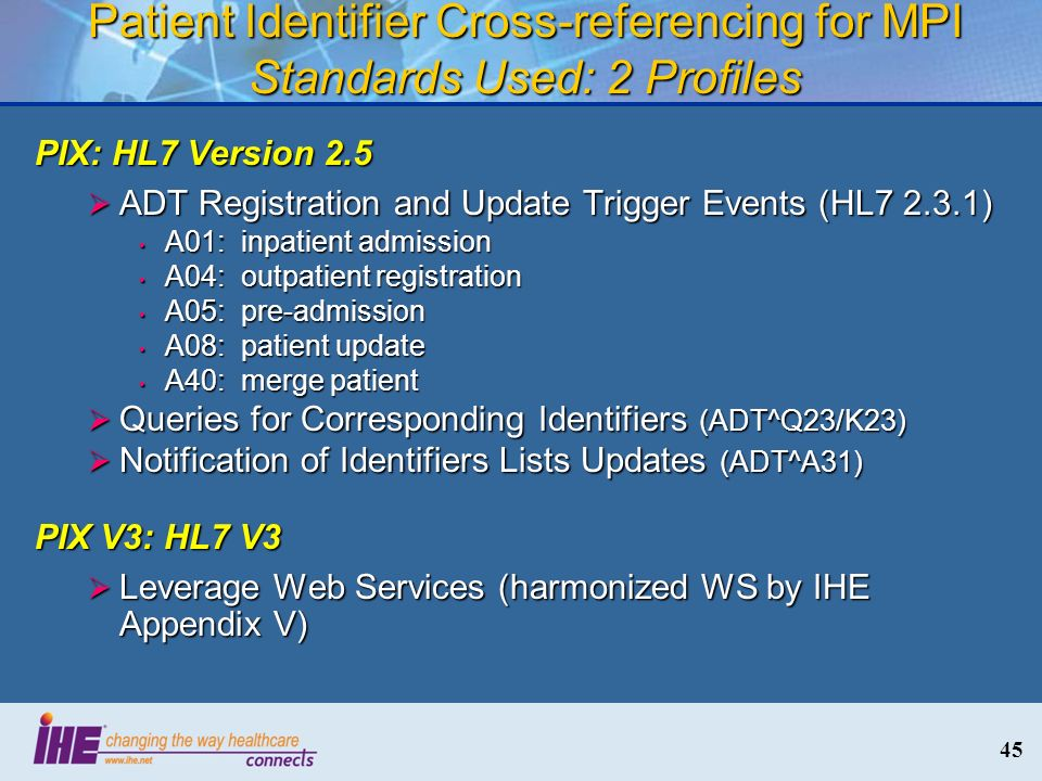 45 Patient Identifier Cross-referencing for MPI Standards Used: 2 Profiles PIX: HL7 Version 2.5 ADT Registration and Update Trigger Events (HL7 2.3.1)