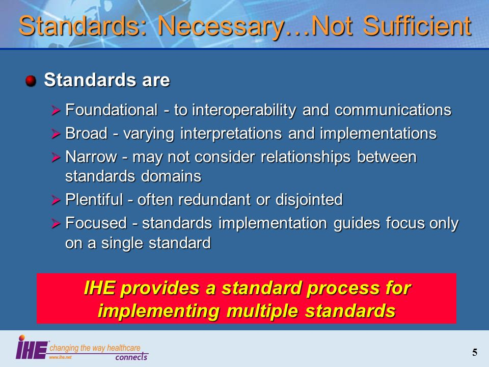 46 The IHE Global Standards Adoption Process Third Step: Engage implementers for Testing Trial Implementation profile at Connectathons Fourth Step: Based on lessons learned from Connectathons implementers, correct/clarify Profile and Publish as Final Text in Domain Technical Framework.