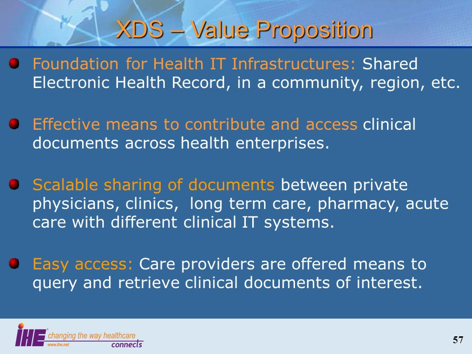 57 XDS – Value Proposition Foundation for Health IT Infrastructures: Shared Electronic Health Record, in a community, region, etc. Effective means to