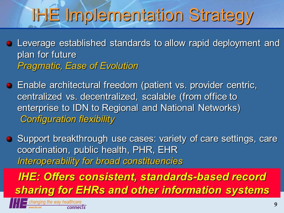 9 IHE Implementation Strategy Leverage established standards to allow rapid deployment and plan for future Pragmatic, Ease of Evolution Enable archite
