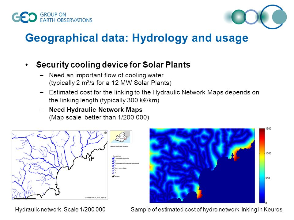 Geographical data: Hydrology and usage Security cooling device for Solar Plants –Need an important flow of cooling water (typically 2 m 3 /s for a 12