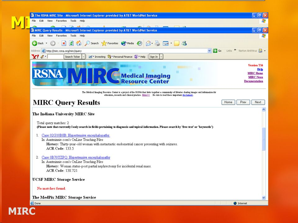 MIRC Sites Query Service –An entry point into the MIRC community for a user on the Internet Storage Service –A cooperating library Index: the librarys card catalog Server: the librarys shelves