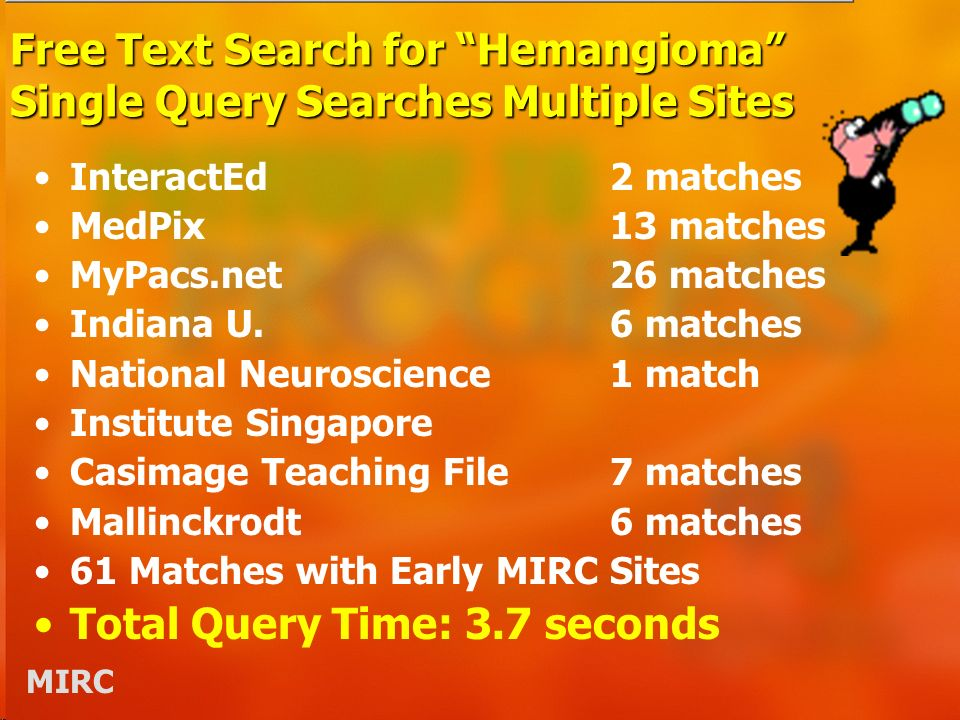 MIRC Free Text Search for Hemangioma Single Query Searches Multiple Sites InteractEd2 matches MedPix13 matches MyPacs.net26 matches Indiana U.6 matches National Neuroscience1 match Institute Singapore Casimage Teaching File7 matches Mallinckrodt 6 matches 61 Matches with Early MIRC Sites Total Query Time: 3.7 seconds