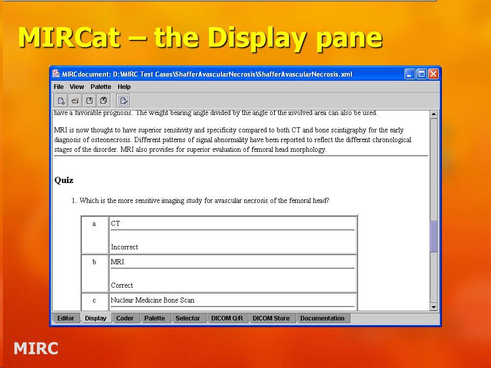 MIRC MIRCat – the Display pane