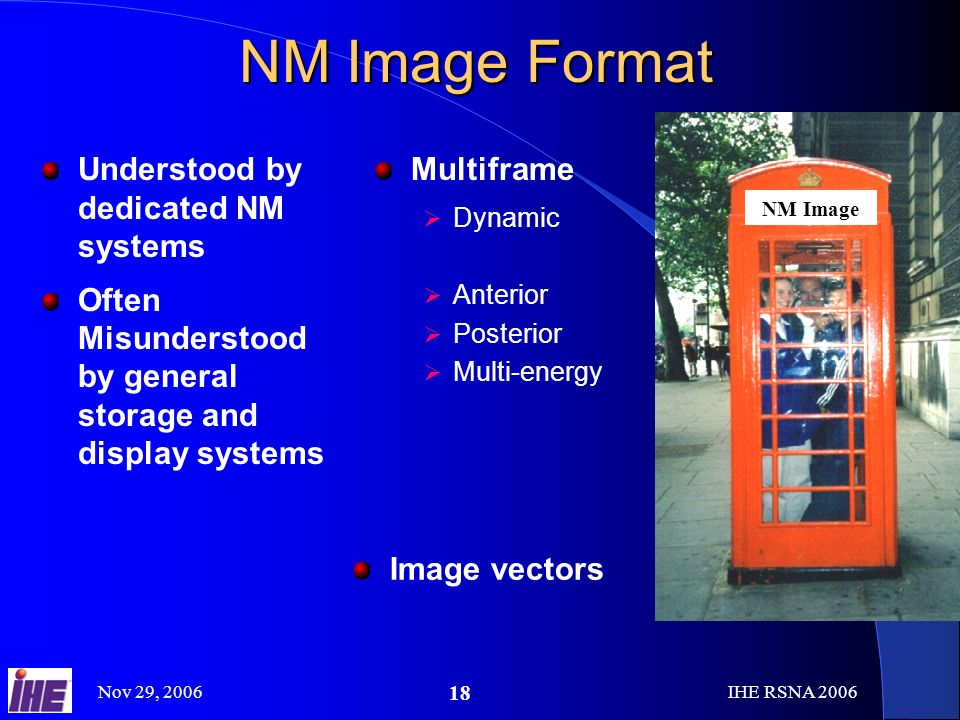 Nov 29, 2006IHE RSNA NM Image Format Understood by dedicated NM systems Often Misunderstood by general storage and display systems Multiframe Dynamic Anterior Posterior Multi-energy NM Image Image vectors
