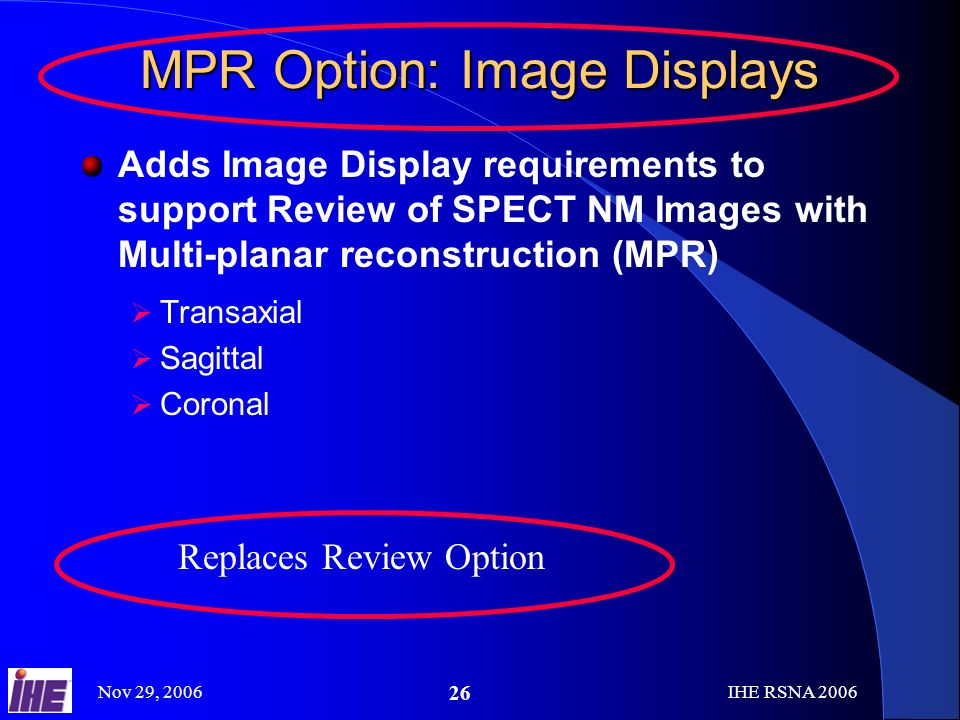 Nov 29, 2006IHE RSNA MPR Option: Image Displays Adds Image Display requirements to support Review of SPECT NM Images with Multi-planar reconstruction (MPR) Transaxial Sagittal Coronal Replaces Review Option