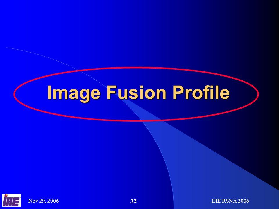 Nov 29, 2006IHE RSNA 2006 32 Image Fusion Profile