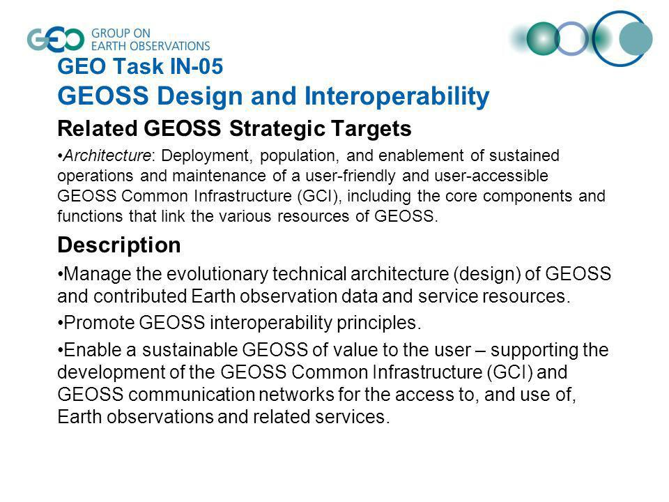 GEO Task IN-05 GEOSS Design and Interoperability Related GEOSS Strategic Targets Architecture: Deployment, population, and enablement of sustained ope