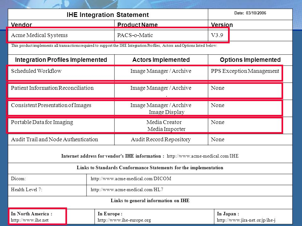 7 IHE Integration Statement Date: 03/10/2006 VendorProduct NameVersion Acme Medical SystemsPACS-o-MaticV3.9 This product implements all transactions required to support the IHE Integration Profiles, Actors and Options listed below: Integration Profiles ImplementedActors ImplementedOptions Implemented Scheduled WorkflowImage Manager / Archive.