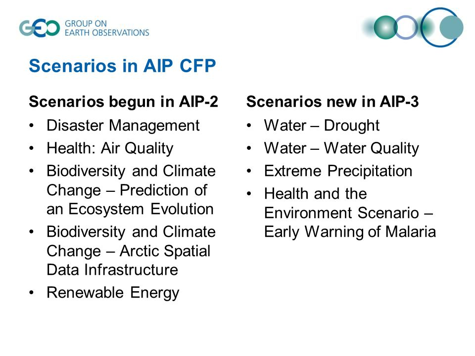 Scenarios in AIP CFP Scenarios begun in AIP-2 Disaster Management Health: Air Quality Biodiversity and Climate Change – Prediction of an Ecosystem Evo