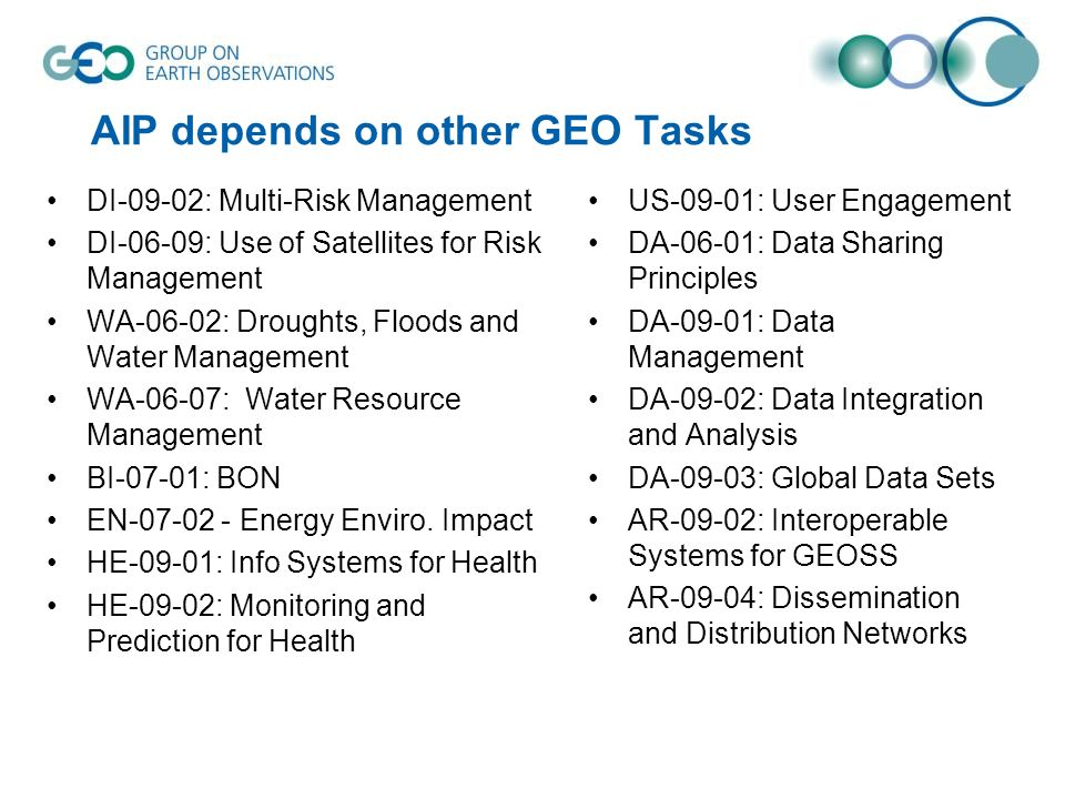 AIP depends on other GEO Tasks DI-09-02: Multi-Risk Management DI-06-09: Use of Satellites for Risk Management WA-06-02: Droughts, Floods and Water Ma