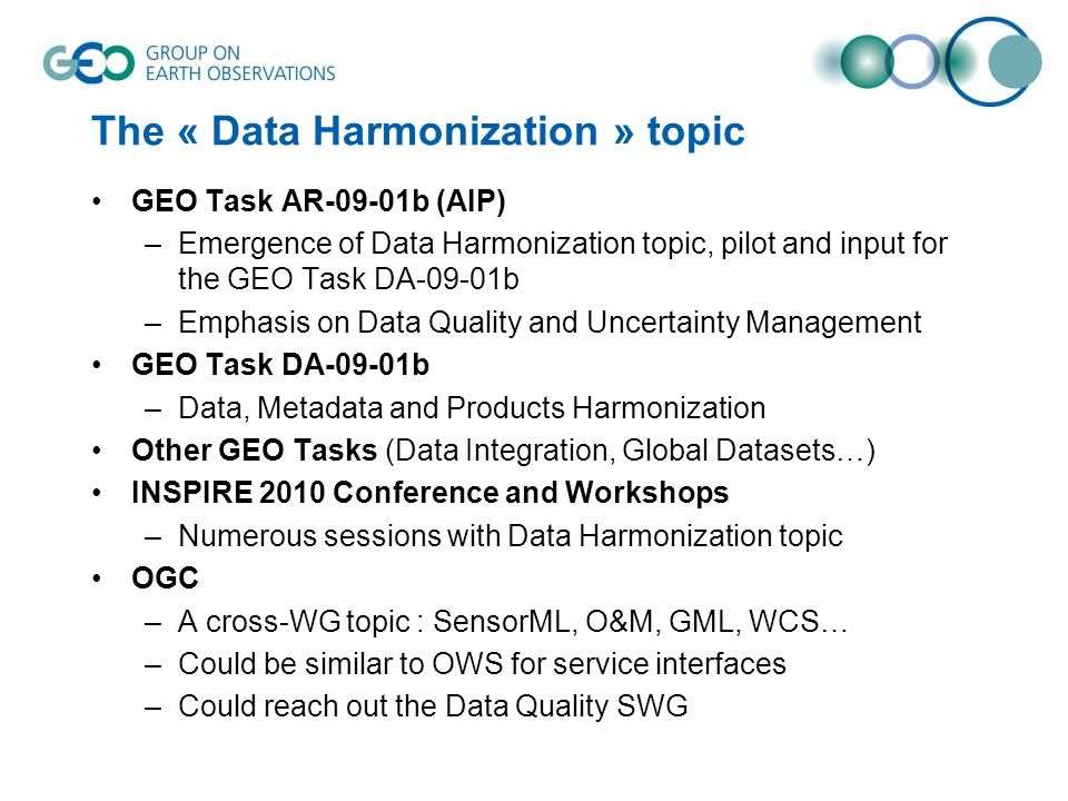 The « Data Harmonization » topic GEO Task AR-09-01b (AIP) –Emergence of Data Harmonization topic, pilot and input for the GEO Task DA-09-01b –Emphasis
