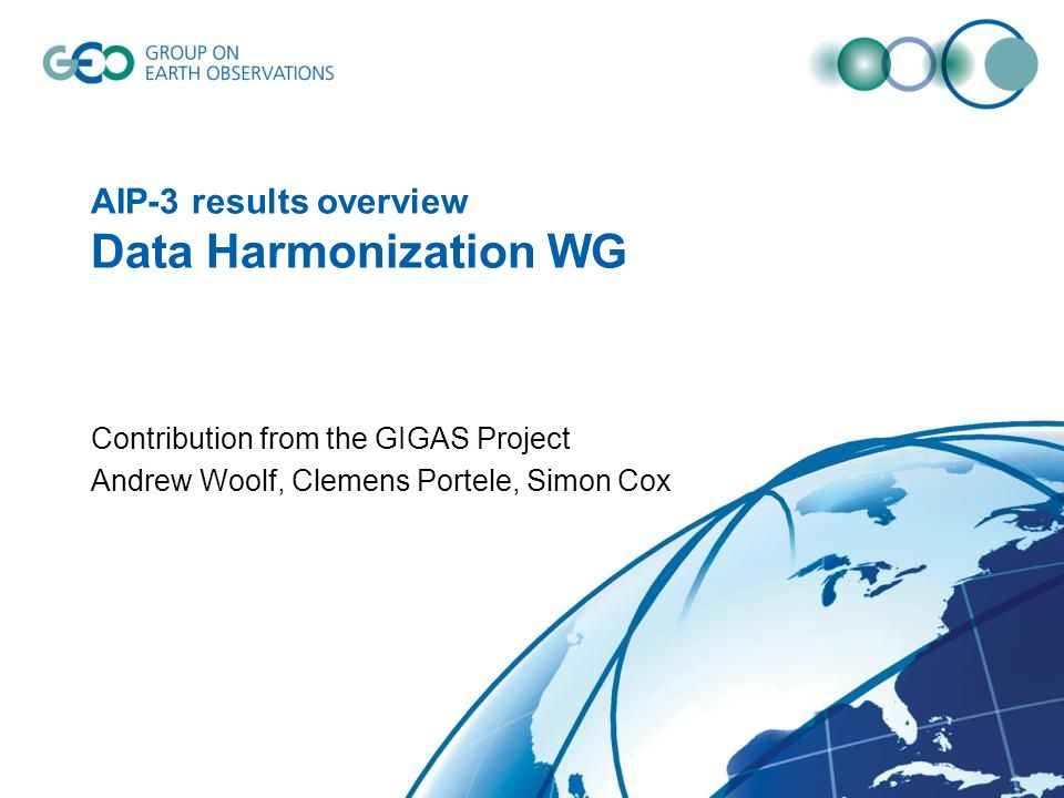 AIP-3 results overview Data Harmonization WG Contribution from the GIGAS Project Andrew Woolf, Clemens Portele, Simon Cox
