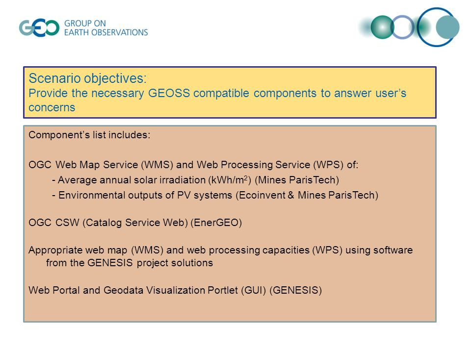 Scenario objectives: Provide the necessary GEOSS compatible components to answer users concerns Components list includes: OGC Web Map Service (WMS) an